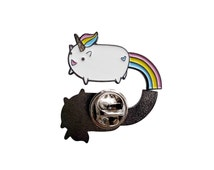 30mm Rainbow Glitter Unicorn Enamel Pin