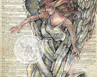 PRINT: Angel Mixed Media Drawing on Antique Dictionary Page