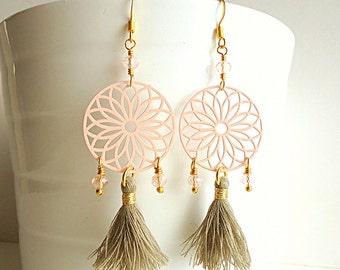 Pastel earrings, Pale pink earrings. Tassel earrings, Dream catcher earrings, boho earrings, gypsy earrings, trends 2018, taupe beige