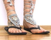 Boho silver beaded BAREFOOT sandles barefoot sandals sexy feet barefoot thongs GYPSY tassel sexy anklet jewelry foot thongs bottomless shoes