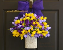 spring wreath Easter wreath front door wreaths Mother's day decor front door decorations purple lavender yellow wreath burlap bow wreaths