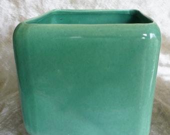 Vintage Turquoise Square Planter Pot 1950's