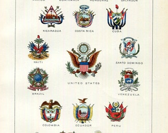 National Coats of Arms Print United States South Central America Mexico Cuba Brazil Chile Bolivia Argentina Peru Antique Wall Decor