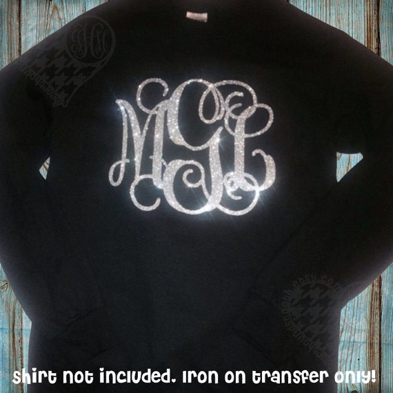 glitter monogram iron on monogram iron on transfer iron on