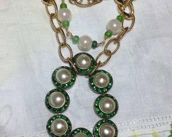 RepuRpoSed Vintage Dress Clip Necklace Eclectic Emerald Green Crystals Pearls Multi Yellow Gold Chains Upcycled Art Deco Czech Dress Clip