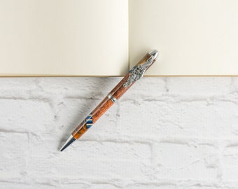 "Navy Dolphins Hawaiian Koa Pen - ""Hawaiian Coffee"" US Navy Enlisted Dolphins ESWS - Hand Turned Koa Pen"