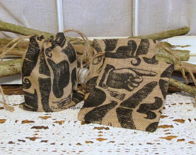 Burlap Party Favor Bags, Burlap Bags, Mustache Wedding Favors, Rustic Favor Bags, Mustache Favor Bags, Set of 5 Handmade Rustic Gift Bags