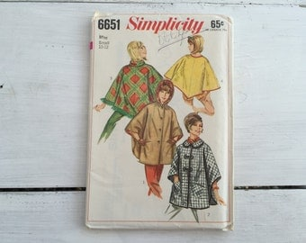 60's Simplicity 6651 Misses' Poncho Set of Ponchos Coat Size Small 10-12 Bust 31-32 FF