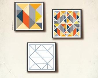 Poster print Square Scandinavian Set. Three 12 x 12 in geometric art prints, affiche scandinave. Navy orange grey geometric, TANGRAMartworks