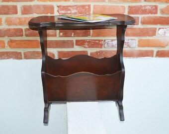 Vintage Dark Hardwood Magazine Rack Table/Furniture