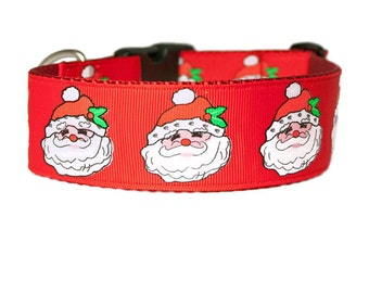"Christmas Santa 1.5"" Buckle or Martingale Style Red Dog Collar"