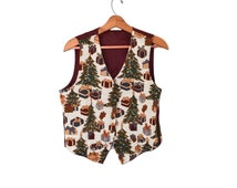Vintage Christmas Vest Ugly Christmas Vest Christmas Party Gift Christmas Party Vest Tacky Christmas Vest Christmas Trees Vest
