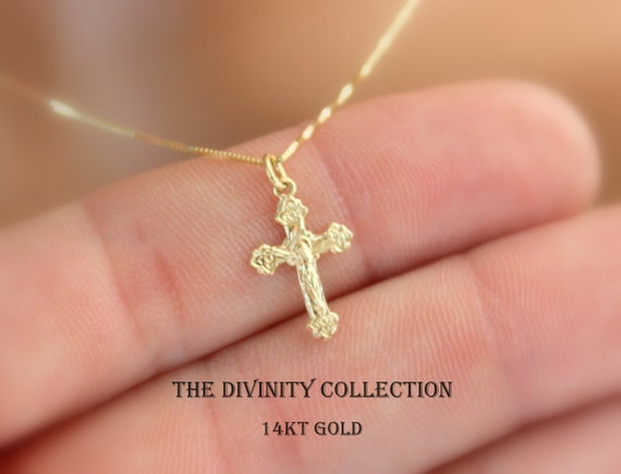 Solid 14kt gold crucifix cross necklace women girls small like this item mozeypictures Images