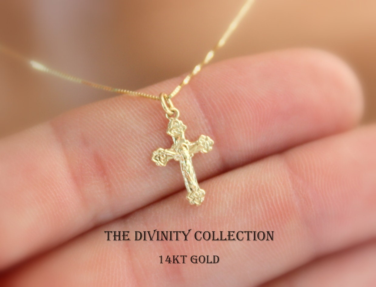 solid 14kt gold crucifix cross necklace women girls small. Black Bedroom Furniture Sets. Home Design Ideas