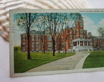 Cotley College - Nevada MO Vintage PostCard - Postmarked Nevada MO - 1930s