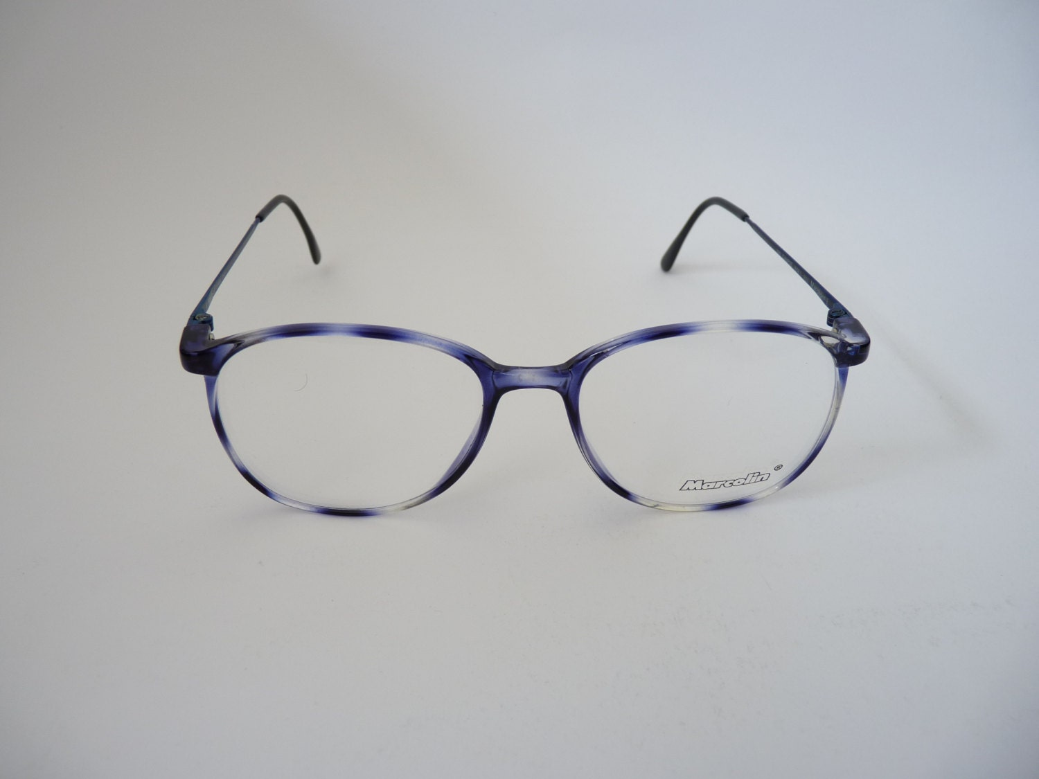 62d03f52b647 Italian blue tortoise round Eyeglasses for men or women 1980s old stock  roundy red blue frames
