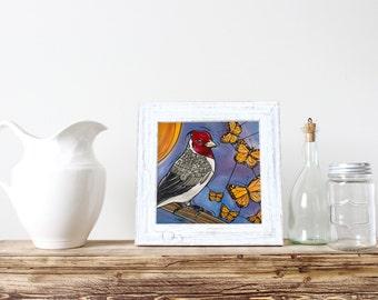 """Bird Blue Art Print. Cardinal and Butterflies - 5x7"""" Kitchen Decor - Wall Art - Home Decor - Under 10"""