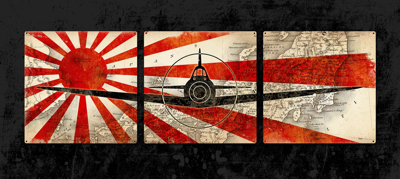 Japanese Zero Metal Airplane Triptych 54x18