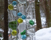 Recycle glass window panel, Suncatcher, Transparent, Contemporary Abstract Glass Panel, Blue, Green, Yellow