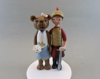 Personalized UCLA Bruin Bear Bride & USC trojan Groom Wedding Cake Topper