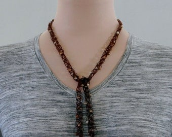 Brown Beaded Lariat Necklace, Brown Y Necklace, Lacy Brown Lariat Necklace