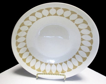Royal China USA Large Viking Gold on White with Blue Speckles - Round Vegetable Serving Bowl - 1960s