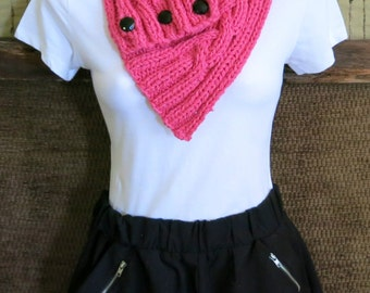 Womens Neckwarmer, Knitted Chunky Cable Cowl, Dark Pink Scarf, Winter Wool Neck Shawl, Womens Birthday Gift,  Nchanted Gifts, Australia