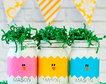 Easter Peeps Mason Jars - Easter Chicks in Eggs Mason Jars - Easter Mason Jars - Painted Distressed Mason Jars