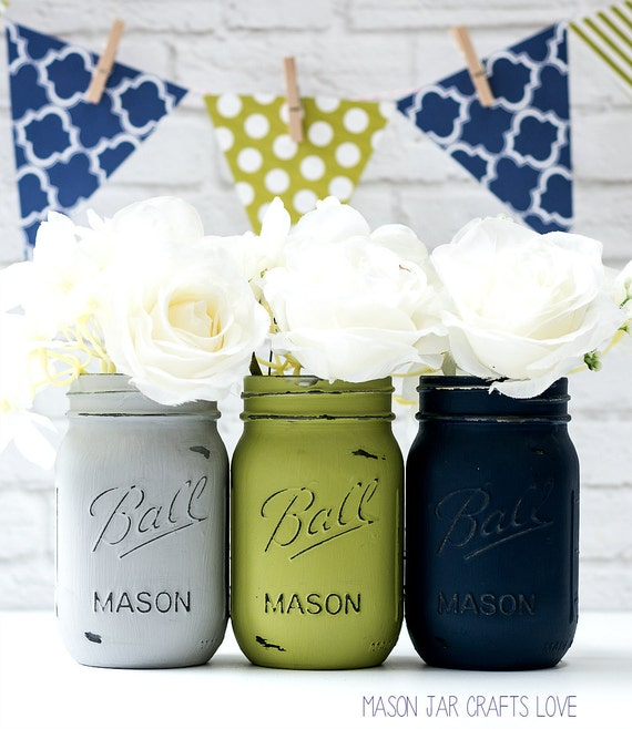 Blue Mason Jars Wedding Ideas: Blue Green Gray Painted & Distressed Mason Jars Weddings