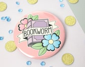 Bookworm Badge, Pocket Mirror or Keyring. Book lover Brooch Pin. Book Lover Mirror. Bookworm Keyring. Book Gifts. Literary Gift. Book Tattoo