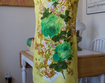 Vintage 1960s Shift Dress / Florida Handprints / Cotton Shift Dress Day Dress Sundress / Screen Printed / Floral Print / Yellow Green / M L