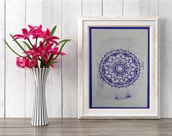 Purple mandala, Meditation Art, Zen Wall Art, Meditation Decor