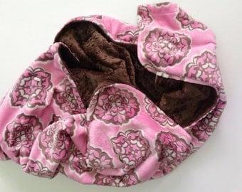 Pink Minky Baby Blanket,Baby Girl Blanket, Large Pink Crib blanket, Pink Brown Blanket, Girl Nursery Bedding ,Crib Size 36 x 45