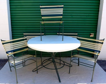 Vintage Outdoor Dining Set 5 Striped Vinyl Strap Chairs and Fiberglass Top Table Lawn Pool Patio Furniture Green and Cream Mid Century