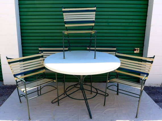 Items Similar To Vintage Outdoor Dining Set 5 Striped