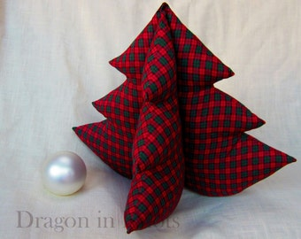 Plaid Christmas Tree - Huggable Tree - Red and Green - Extra Large