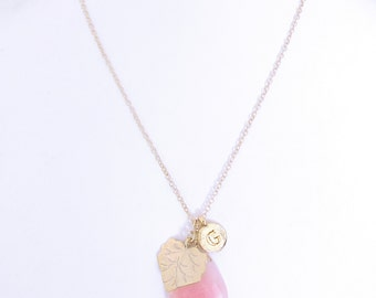 Personalized necklace, pink birthstone gold initial letter G necklace, gold plated leaf charm & pink jade stone breast cancer survivor gifts