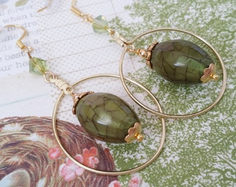 "Gold Hoop Drop Dangle Moss Earrings ""RAINFOREST MOSS"" Hunter Green Earrings Moss Peridot Stone Strength for the Journey Strength4theJourney"