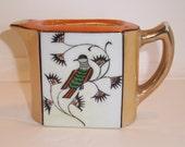 Antique/ Vintage Lustreware 1920 to 1930 Japanese Pitcher Gold, Copper, Tea Pot Hand painted from Japan, Bird, Orange, Green, Black