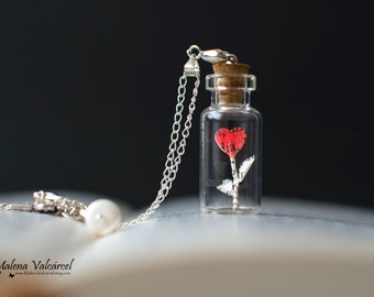 Tiny Heart in a bottle necklace - Vial Pendant