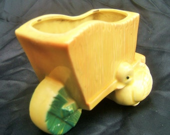 Cute Adorable Bright Yellow Duck Ceramic Wheelbarrow Window Planter