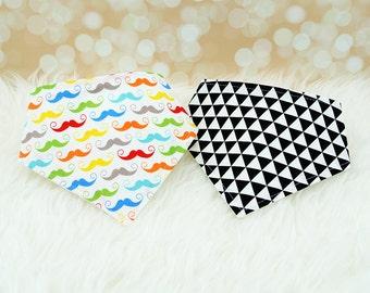 Bandana Bibs - Colorful White Moustaches & Black Triangles - Set of 2 baby bandana bibs (or pick your own fabrics)