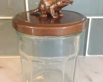 Recycled Glass Jar - Beaver in Metallic Copper