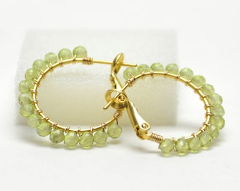 """Genuine Peridot Earrings - Gold Filled Wire Wrapped Hoops with Posts and Leverbacks - Green Gemstone, Gold Plated Hoops (20mm, Beaded 1"""")"""