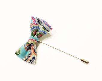Paisley Bow Tie Lapel Pin