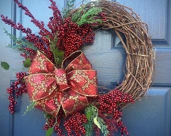 Winter Berry Wreath, Red Wreaths, Holiday Decor, Winter Wreaths, Christmas Wreath, Red and Gold Decor, Winter Door Decor