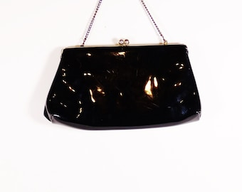 Vintage Harry Levine USA Black Patent Faux Leather Purse