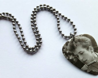 Bob Dylan Guitar Pick Necklace with Stainless Steel Ball Chain - folk music - harmonica - 1960s