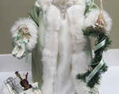RESERVED FOR J: Mint Green Santa with White Fur and Rhinestones  ( One of a Kind Handmade Old World Santa )