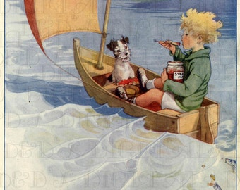 FAIRY Boat! Little Boy and Dog Sail Away! Vintage Child Illustration. Digital Child DOWNLOAD. Printable Image. From FIRST Edition!